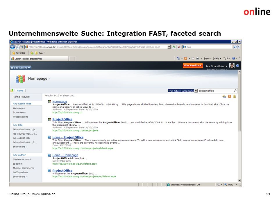 Unternehmensweite Suche: Integration FAST, faceted search Online Group | www.online.ch21