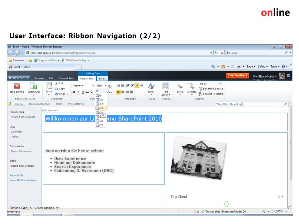 User Interface: Ribbon Navigation (2/2) Online Group | www.online.ch7