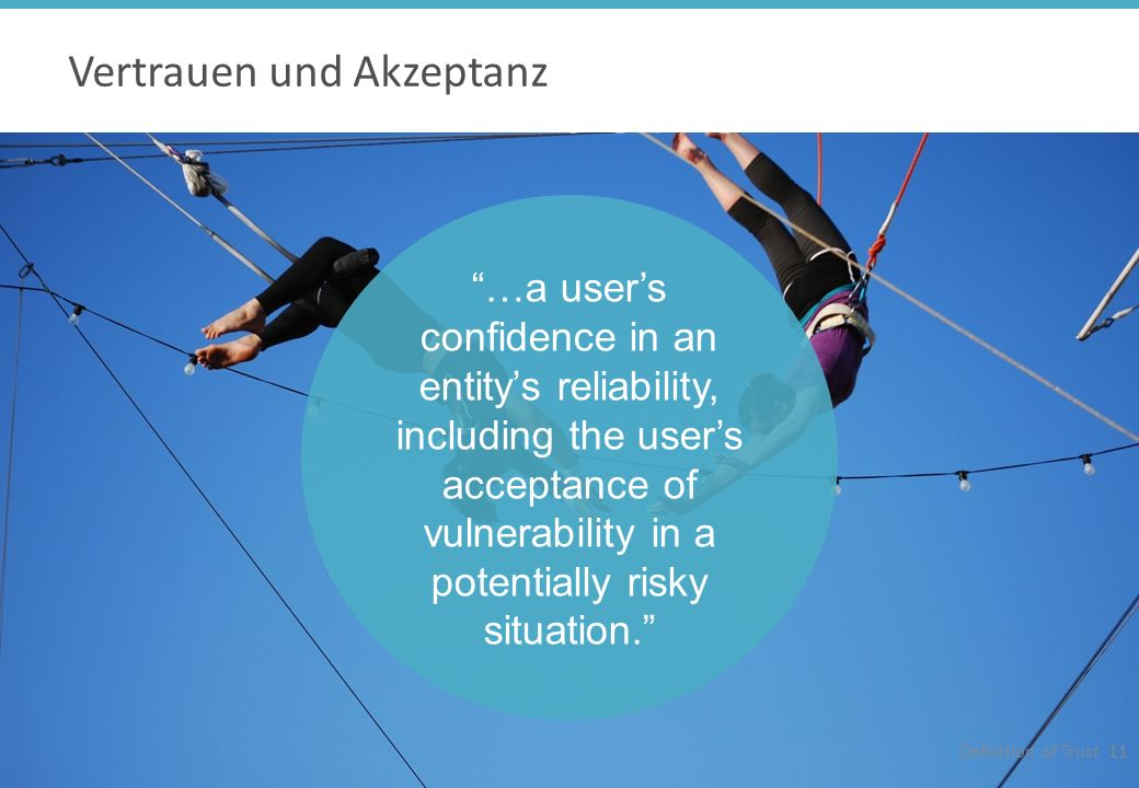 Trust is Vertrauen und Akzeptanz Definition of Trust 11 …a users confidence in an entitys reliability, including the users acceptance of vulnerability in a potentially risky situation.