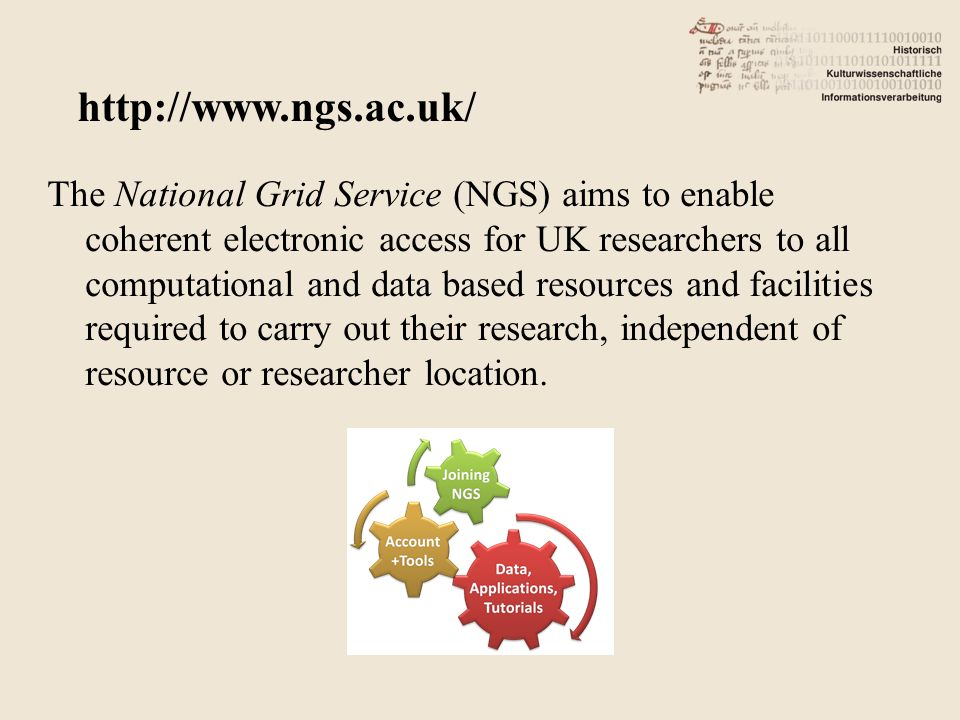 The National Grid Service (NGS) aims to enable coherent electronic access for UK researchers to all computational and data based resources and facilities required to carry out their research, independent of resource or researcher location.