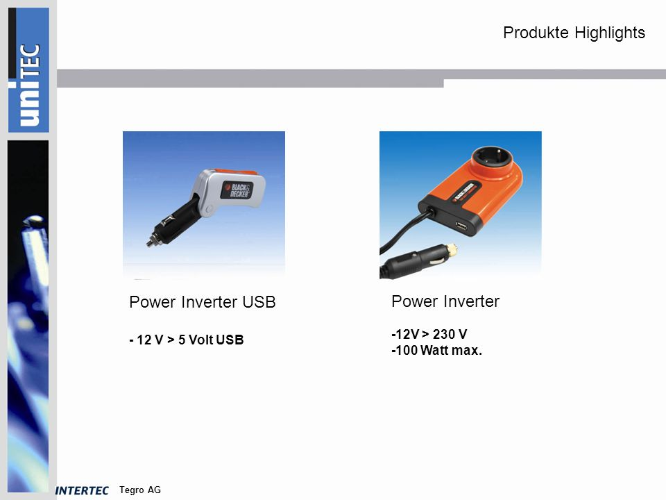 Tegro AG Power Inverter USB - 12 V > 5 Volt USB Power Inverter -12V > 230 V -100 Watt max.