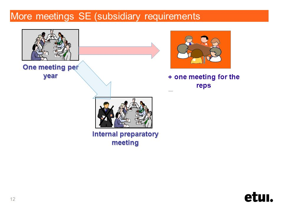More meetings SE (subsidiary requirements 12 Internal preparatory meeting One meeting per year + one meeting for the reps