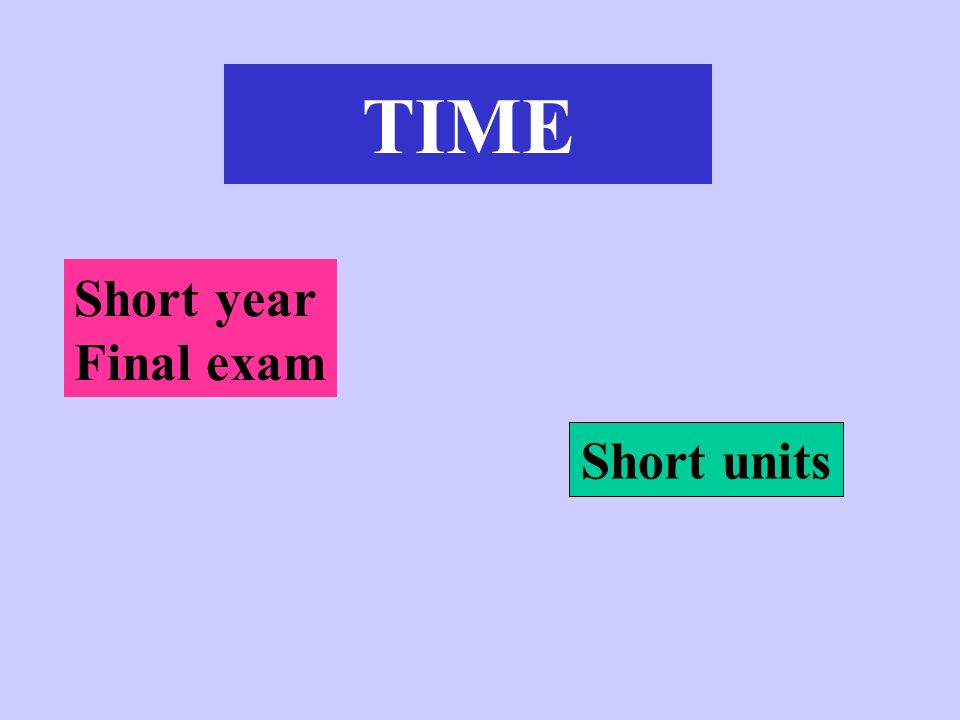 Short year Final exam Short units TIME