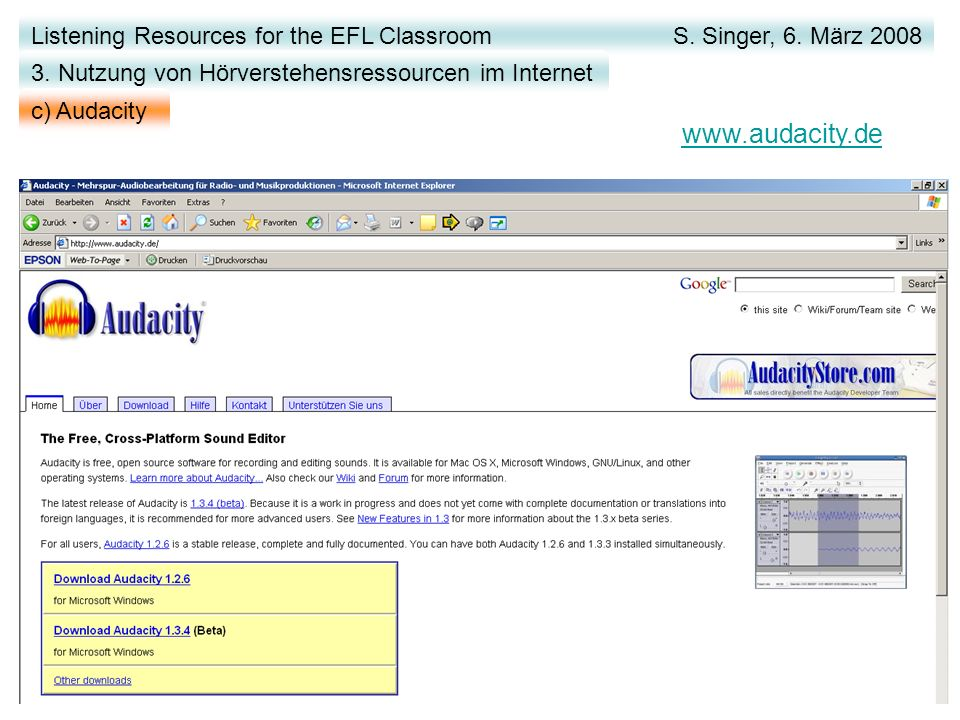www.audacity.de Listening Resources for the EFL Classroom S.