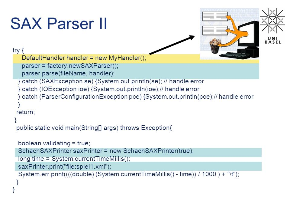 SAX Parser II try { DefaultHandler handler = new MyHandler(); parser = factory.newSAXParser(); parser.parse(fileName, handler); } catch (SAXException se) {System.out.println(se); // handle error } catch (IOException ioe) {System.out.println(ioe);// handle error } catch (ParserConfigurationException pce) {System.out.println(pce);// handle error } return; } public static void main(String[] args) throws Exception{ boolean validating = true; SchachSAXPrinter saxPrinter = new SchachSAXPrinter(true); long time = System.currentTimeMillis(); saxPrinter.print( file:spiel1.xml ); System.err.print((((double) (System.currentTimeMillis() - time)) / 1000 ) + \t ); }