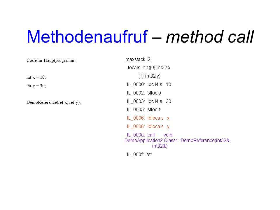 Methodenaufruf – method call.maxstack 2.locals init ([0] int32 x, [1] int32 y) IL_0000: ldc.i4.s 10 IL_0002: stloc.0 IL_0003: ldc.i4.s 30 IL_0005: stloc.1 IL_0006: ldloca.s x IL_0008: ldloca.s y IL_000a: call void DemoApplication2.Class1::DemoReference(int32&, int32&) IL_000f: ret Code im Hauptprogramm: int x = 10; int y = 30; DemoReference(ref x, ref y);