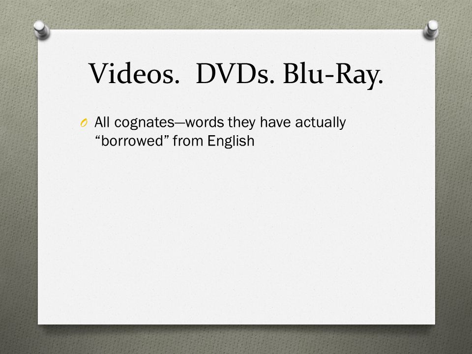 Videos. DVDs. Blu-Ray. O All cognateswords they have actually borrowed from English