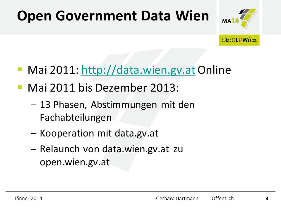 Jänner 2014Gerhard Hartmann Öffentlich3 Open Government Data Wien Mai 2011: http://data.wien.gv.at Onlinehttp://data.wien.gv.at Mai 2011 bis Dezember 2013: –13 Phasen, Abstimmungen mit den Fachabteilungen –Kooperation mit data.gv.at –Relaunch von data.wien.gv.at zu open.wien.gv.at