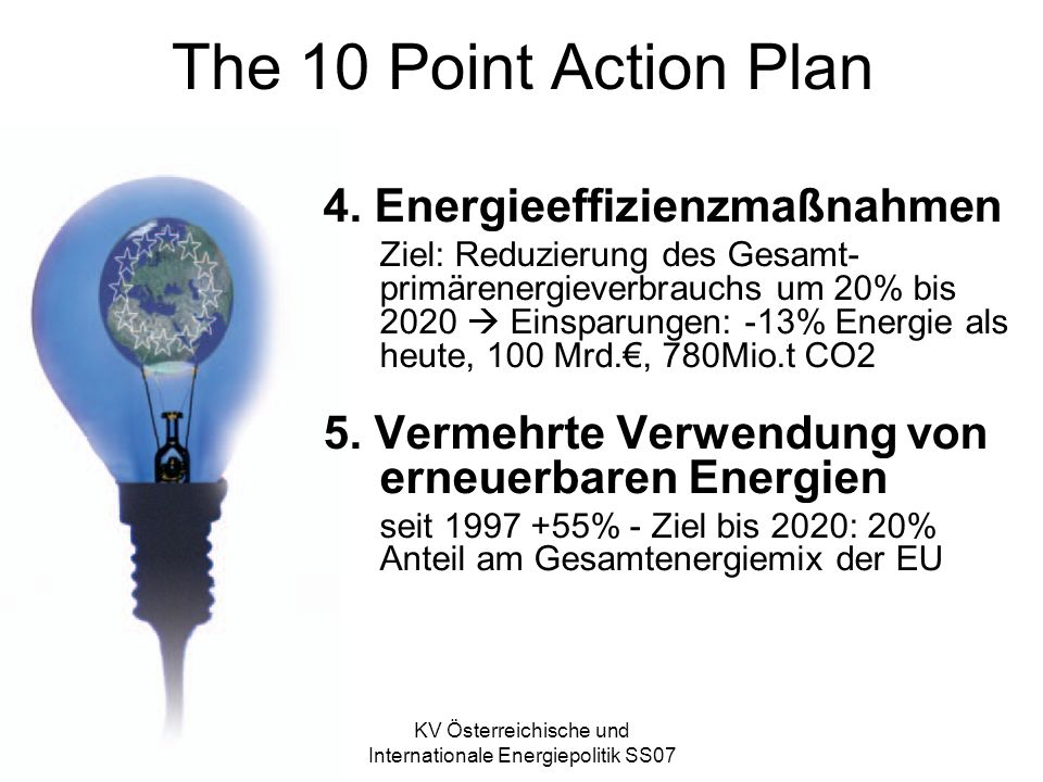 KV Österreichische und Internationale Energiepolitik SS07 The 10 Point Action Plan 4.