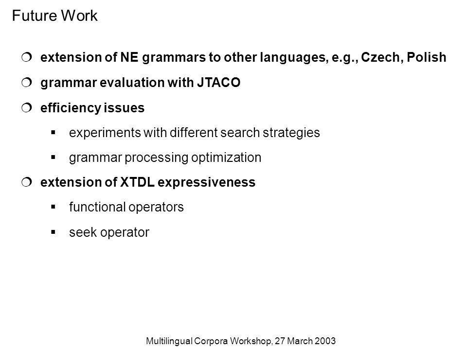 Multilingual Corpora Workshop, 27 March 2003 Future Work extension of NE grammars to other languages, e.g., Czech, Polish grammar evaluation with JTACO efficiency issues experiments with different search strategies grammar processing optimization extension of XTDL expressiveness functional operators seek operator