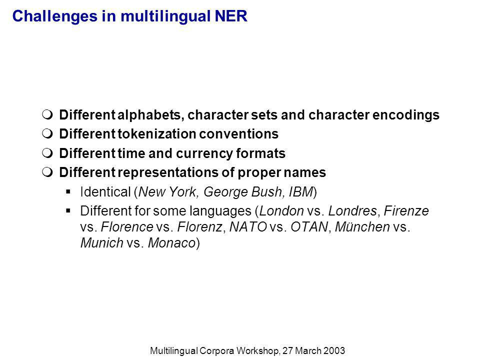 Multilingual Corpora Workshop, 27 March 2003 Challenges in multilingual NER Different alphabets, character sets and character encodings Different tokenization conventions Different time and currency formats Different representations of proper names Identical (New York, George Bush, IBM) Different for some languages (London vs.