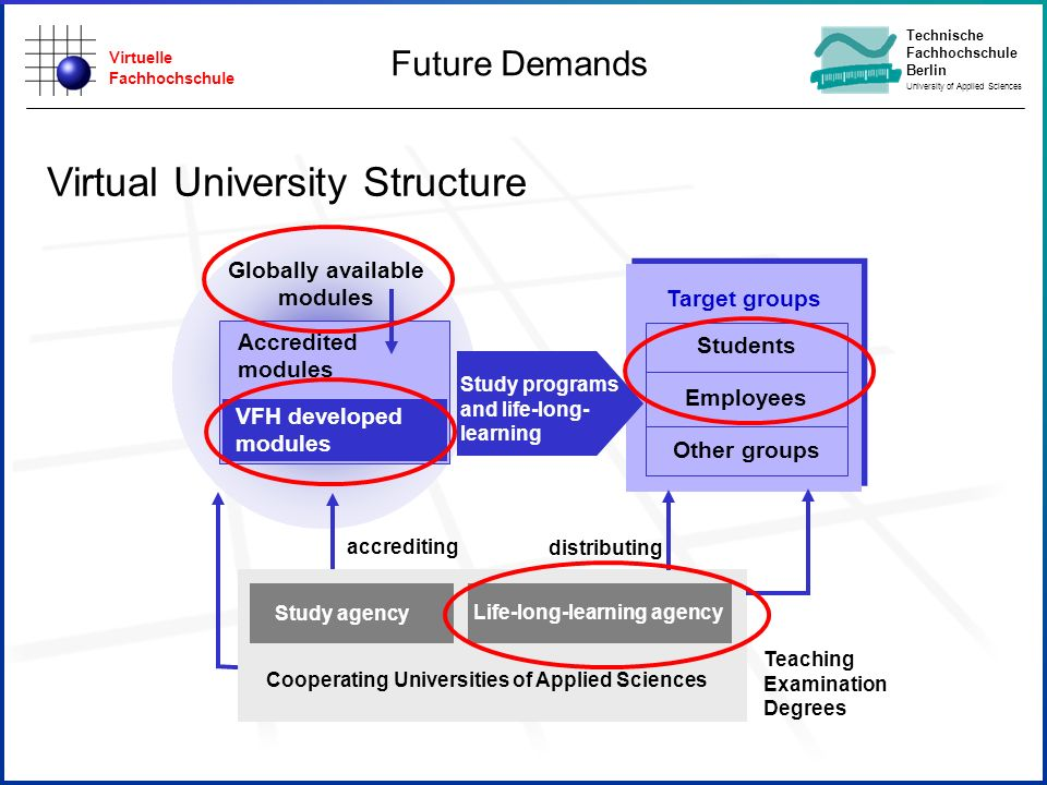 Virtuelle Fachhochschule Technische Fachhochschule Berlin University of Applied Sciences Virtual University Structure Cooperating Universities of Applied Sciences Study agency Life-long-learning agency Globally available modules Target groups Students Employees Other groups Study programs and life-long- learning accrediting distributing Teaching Examination Degrees Accredited modules VFH developed modules Future Demands