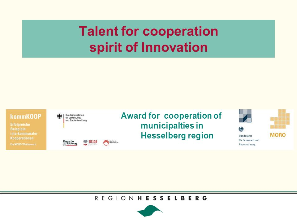 Talent for cooperation spirit of Innovation Award for cooperation of municipalties in Hesselberg region