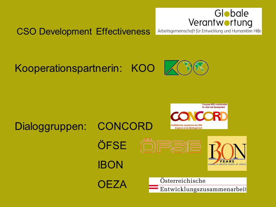CSO Development Effectiveness Kooperationspartnerin: KOO Dialoggruppen:CONCORD ÖFSE IBON OEZA