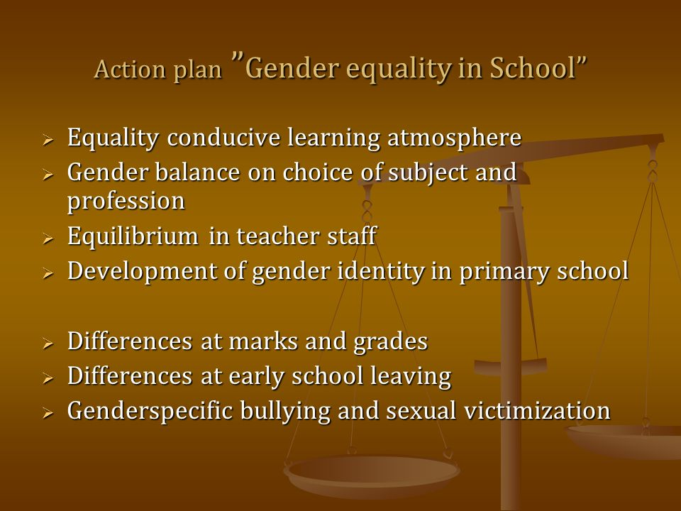 Action plan Gender equality in School Equality conducive learning atmosphere Equality conducive learning atmosphere Gender balance on choice of subject and profession Gender balance on choice of subject and profession Equilibrium in teacher staff Equilibrium in teacher staff Development of gender identity in primary school Development of gender identity in primary school Differences at marks and grades Differences at marks and grades Differences at early school leaving Differences at early school leaving Genderspecific bullying and sexual victimization Genderspecific bullying and sexual victimization