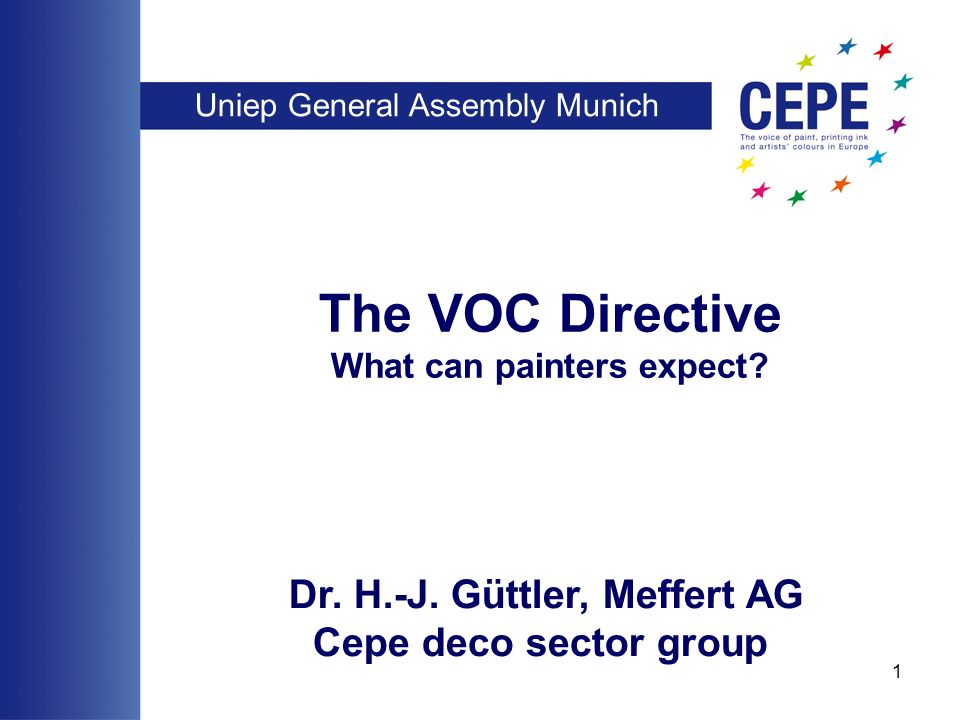 Uniep General Assembly Munich 1 The VOC Directive What can painters expect.