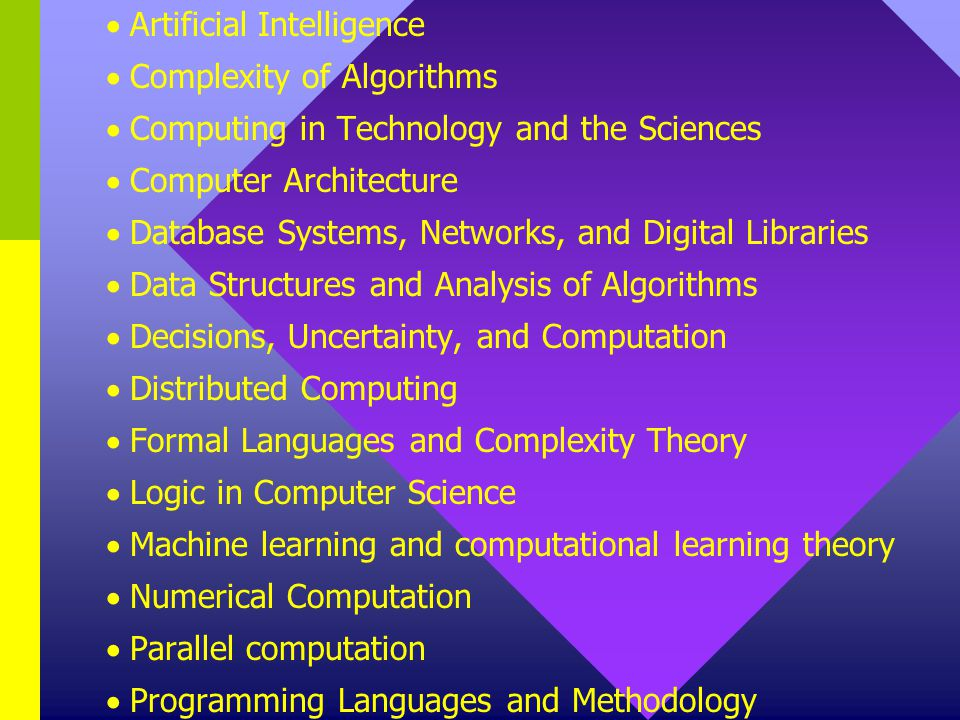 Artificial Intelligence Complexity of Algorithms Computing in Technology and the Sciences Computer Architecture Database Systems, Networks, and Digital Libraries Data Structures and Analysis of Algorithms Decisions, Uncertainty, and Computation Distributed Computing Formal Languages and Complexity Theory Logic in Computer Science Machine learning and computational learning theory Numerical Computation Parallel computation Programming Languages and Methodology