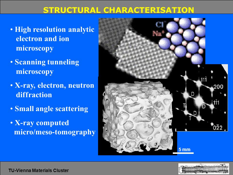 STRUCTURAL CHARACTERISATION High resolution analytic electron and ion microscopy Scanning tunneling microscopy X-ray, electron, neutron diffraction Small angle scattering X-ray computed micro/meso-tomography 5 mm TU-Vienna Materials Cluster