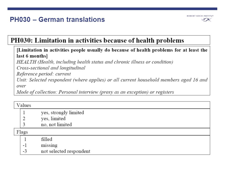 PH030 – German translations Verschiedene Fragenvarianten vorstellen; Unterschiedliche Prävalenzen darstellen policy makers are disappointed about the SILC results; low (decreasing) acceptability of the indicator HLY