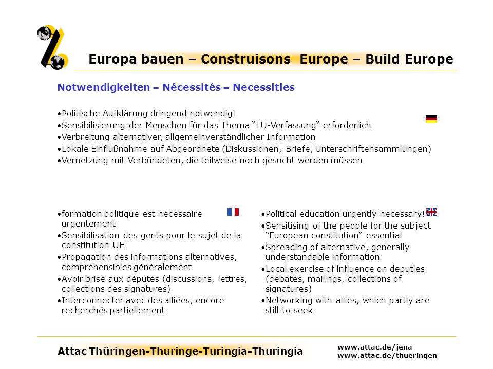Attac Thüringen-Thuringe-Turingia-Thuringia Europa bauen – Construisons Europe – Build Europe www.attac.de/jena www.attac.de/thueringen Political education urgently necessary.