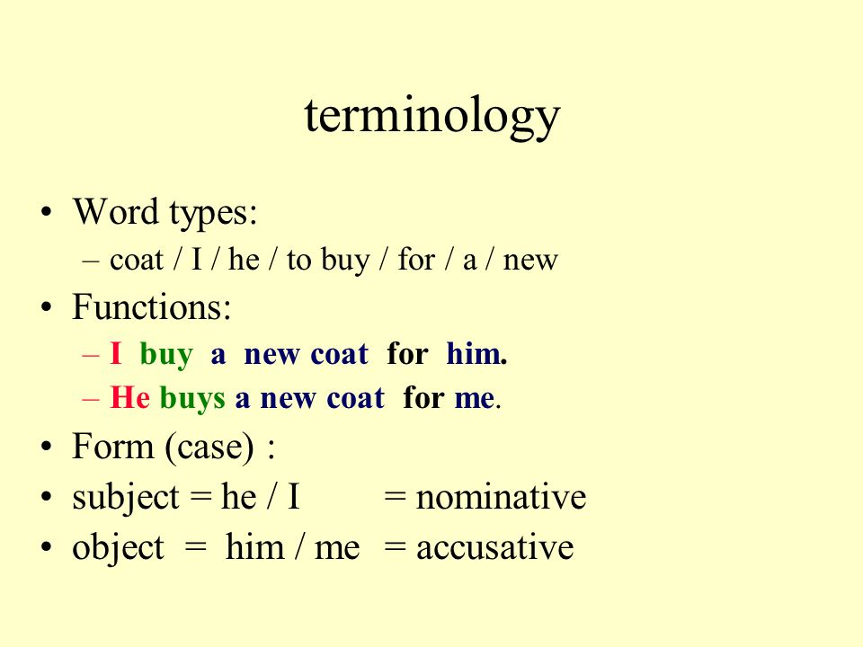 terminology Word types: –coat / I / he / to buy / for / a / new Functions: –I buy a new coat for him.