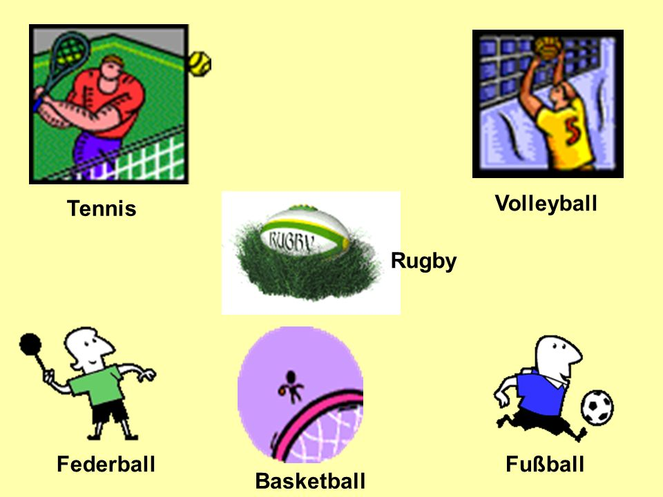 Tennis Volleyball Federball Fußball Rugby Basketball