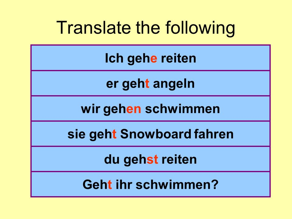 Translate the following I go riding He goes fishing We are going swimming she does go snowboarding you go riding (du) Do you (pl) go swimming.