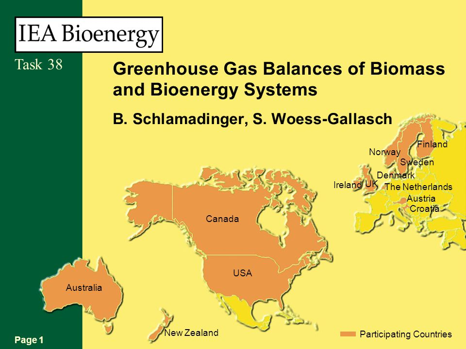 Page 1 Task 38 Australia New Zealand Participating Countries USA Canada Croatia Austria The Netherlands Denmark UK Sweden Norway Finland Ireland Greenhouse Gas Balances of Biomass and Bioenergy Systems B.