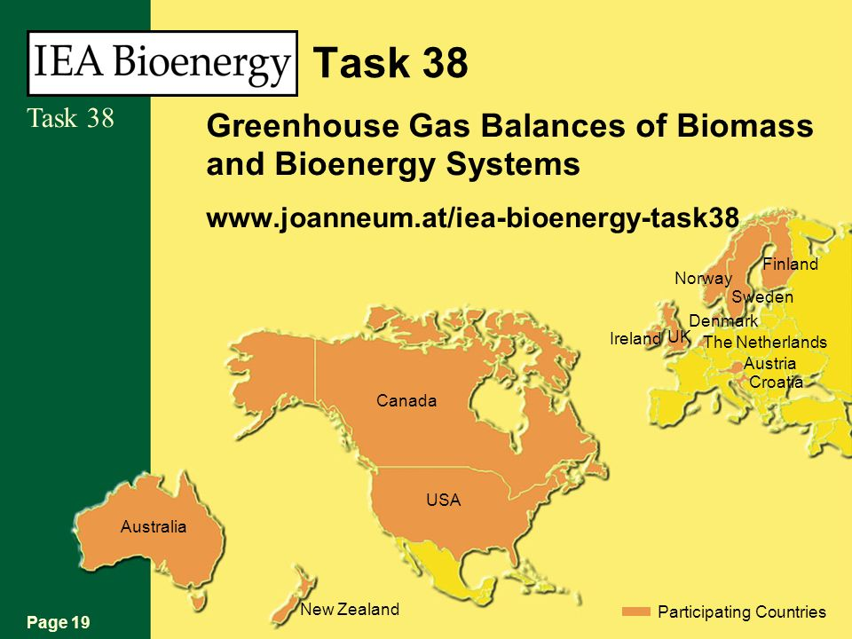 Page 19 Task 38 Australia New Zealand Participating Countries USA Canada Croatia Austria The Netherlands Denmark UK Sweden Norway Finland Ireland Task 38 Greenhouse Gas Balances of Biomass and Bioenergy Systems www.joanneum.at/iea-bioenergy-task38
