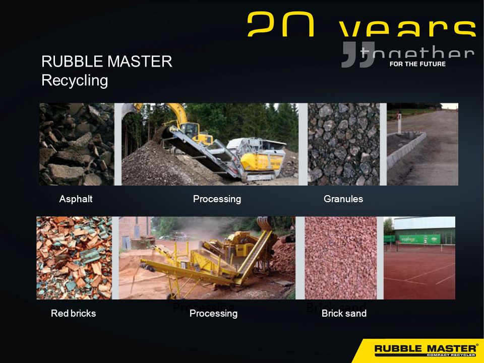ProcessingBrick sand Red bricksProcessingBrick sand AsphaltProcessingGranules RUBBLE MASTER Recycling