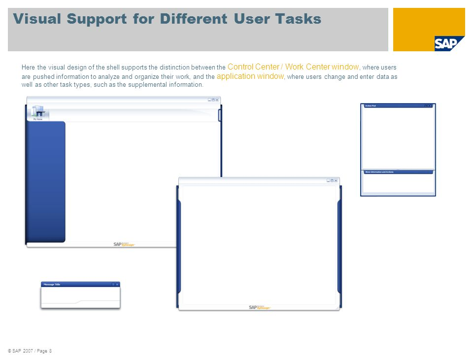 © SAP 2007 / Page 8 Visual Support for Different User Tasks Here the visual design of the shell supports the distinction between the Control Center / Work Center window, where users are pushed information to analyze and organize their work, and the application window, where users change and enter data as well as other task types, such as the supplemental information.