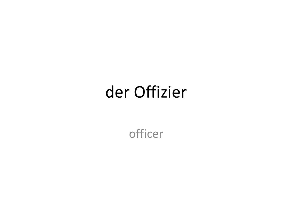 der Offizier officer