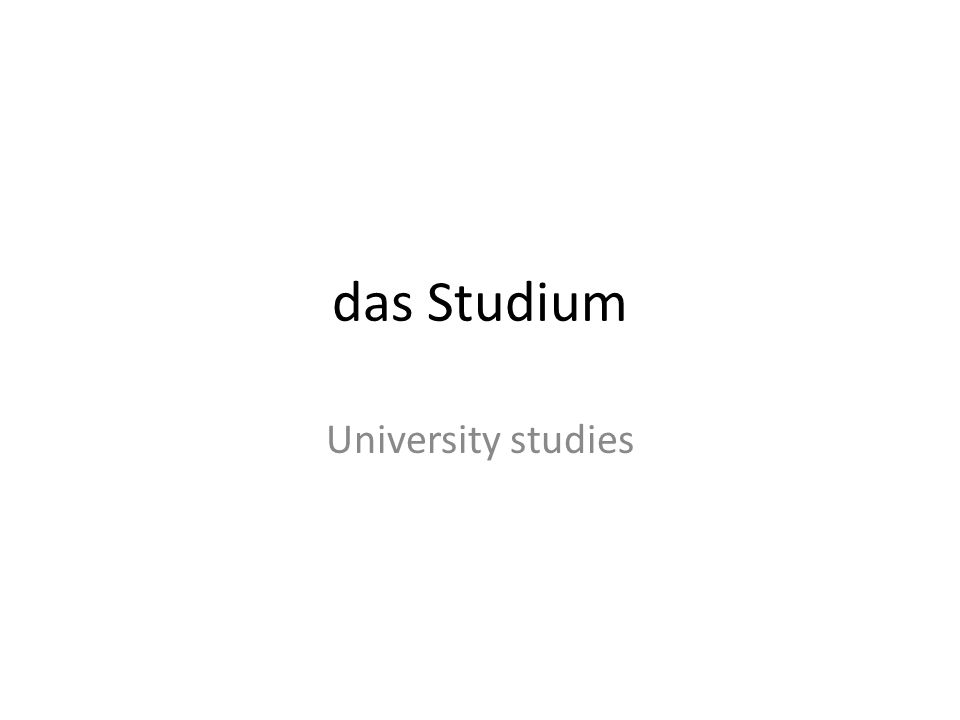 das Studium University studies