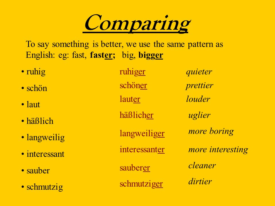 Comparing To say something is better, we use the same pattern as English: eg: fast, faster; big, bigger ruhig schön laut häßlich langweilig interessant sauber schmutzig ruhigerquieter schöner lauter häßlicher langweiliger interessanter sauberer schmutziger prettier louder uglier more boring more interesting cleaner dirtier