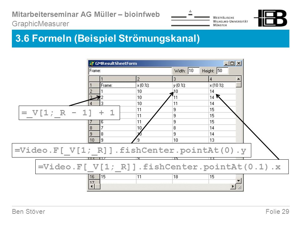 Mitarbeiterseminar AG Müller – bioinfweb Folie 29Ben Stöver 3.6 Formeln (Beispiel Strömungskanal) GraphicMeasurer =_V[1;_R - 1] + 1 =Video.F[_V[1;_R]].fishCenter.pointAt(0).y =Video.F[_V[1;_R]].fishCenter.pointAt(0.1).x