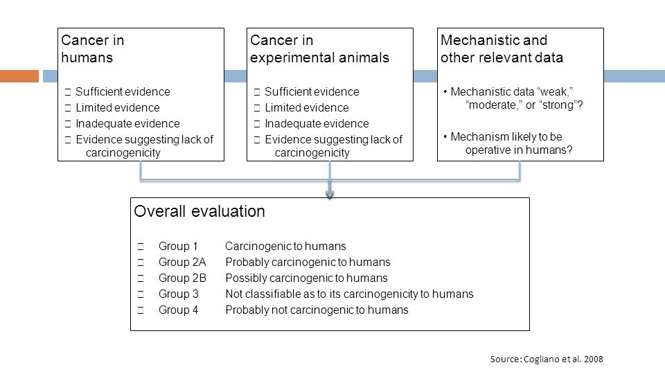 Cancer in humans Sufficient evidence Limited evidence Inadequate evidence Evidence suggesting lack of carcinogenicity Cancer in experimental animals Sufficient evidence Limited evidence Inadequate evidence Evidence suggesting lack of carcinogenicity Mechanistic and other relevant data Mechanistic data weak, moderate, or strong.