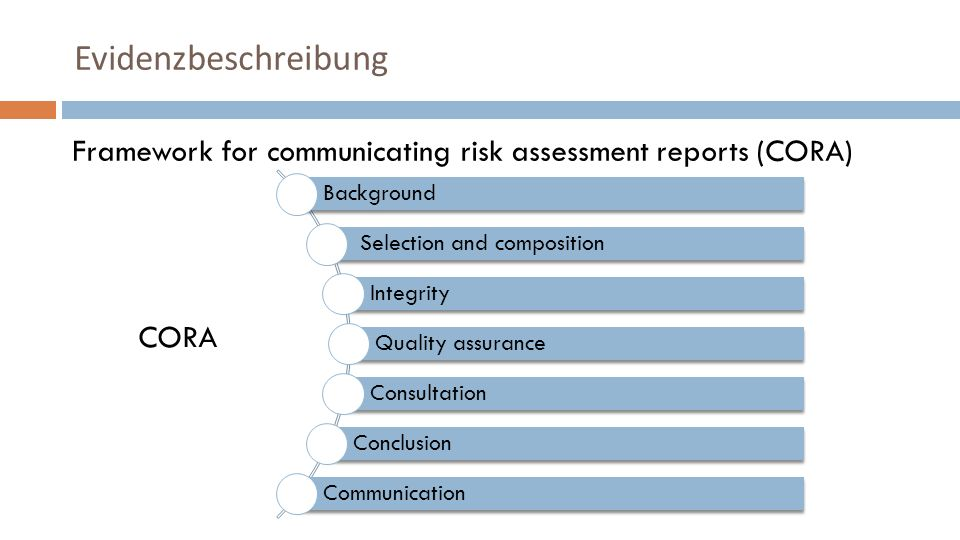 Framework for communicating risk assessment reports (CORA) CORA Evidenzbeschreibung