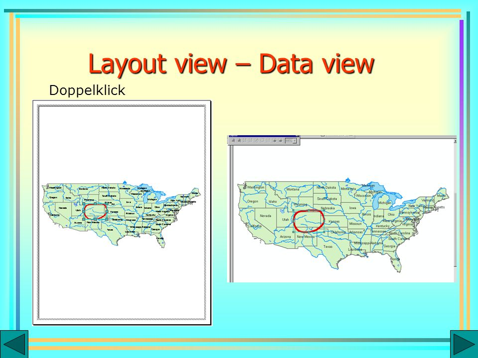 Layout view – Data view Doppelklick