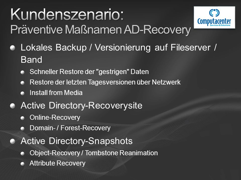 Lokales Backup / Versionierung auf Fileserver / Band Schneller Restore der gestrigen Daten Restore der letzten Tagesversionen über Netzwerk Install from Media Active Directory-Recoverysite Online-Recovery Domain- / Forest-Recovery Active Directory-Snapshots Object-Recovery / Tombstone Reanimation Attribute Recovery
