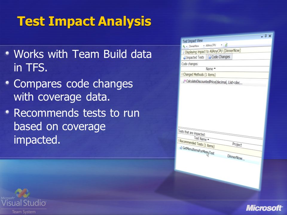 Test Impact Analysis Works with Team Build data in TFS.