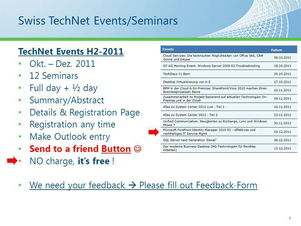 Swiss TechNet Events/Seminars TechNet Events H2-2011 Okt.