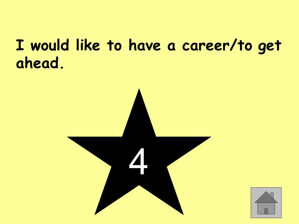 I would like to have a career/to get ahead. 4