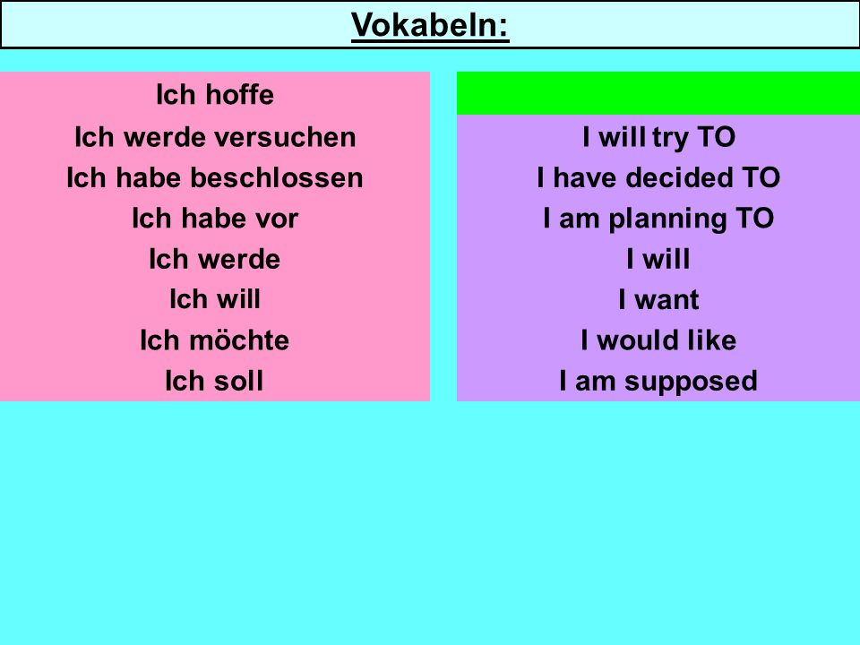Ich werde versuchen Ich habe beschlossen Ich habe vor Ich werde Ich will Ich möchte Ich soll I will try TO I have decided TO I am planning TO I will I want I am supposed Ich hoffeI hope TO Vokabeln: