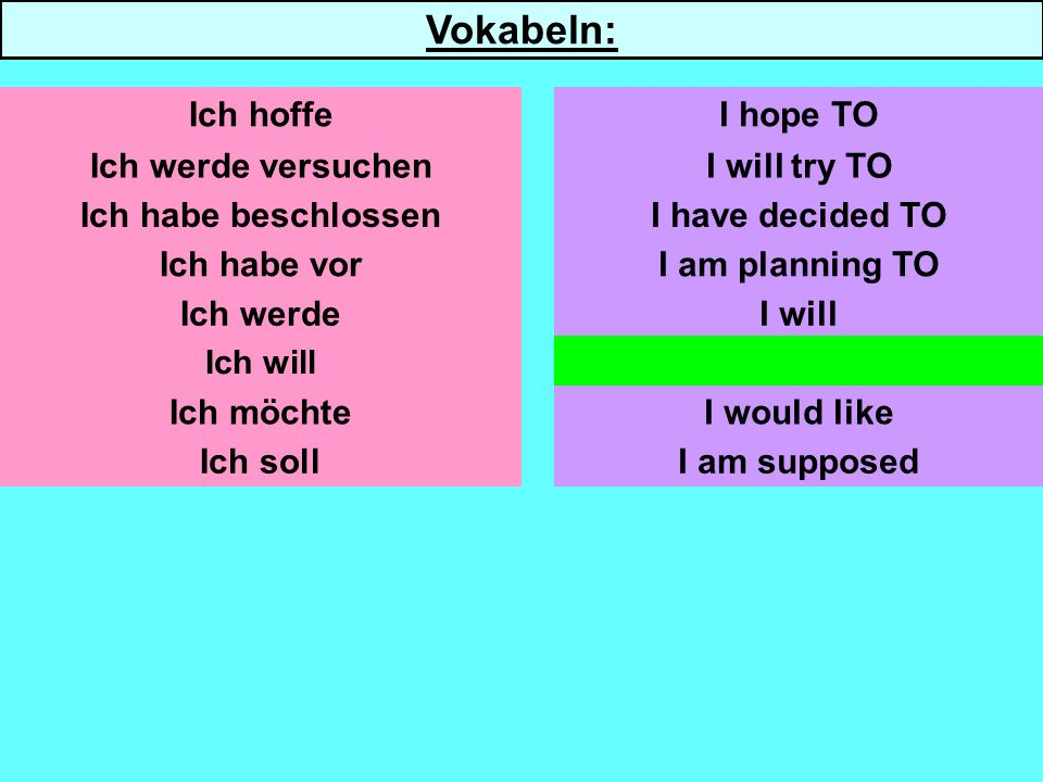 Ich werde versuchen Ich habe beschlossen Ich habe vor Ich werde Ich will Ich möchte Ich soll I will try TO I am planning TO I will I want I would like I am supposed Ich hoffeI hope TO Vokabeln: