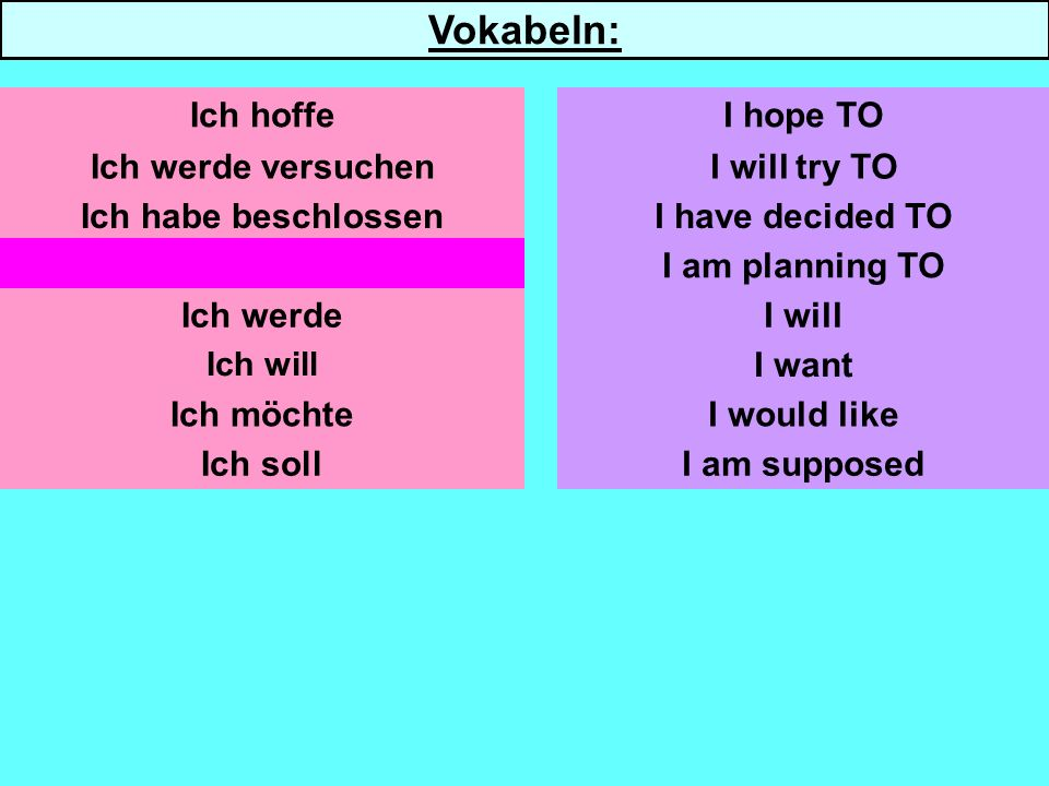 Ich werde versuchen Ich habe beschlossen Ich habe vor Ich werde Ich will Ich möchte Ich soll I will try TO I have decided TO I am planning TO I will I would like I am supposed Ich hoffeI hope TO Vokabeln: