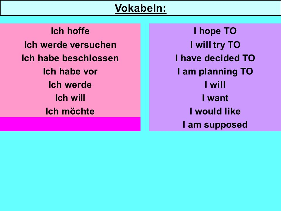 Ich werde versuchen Ich habe beschlossen Ich werde Ich will Ich möchte Ich soll I will try TO I have decided TO I am planning TO I will I want I would like I am supposed Ich hoffeI hope TO Vokabeln:
