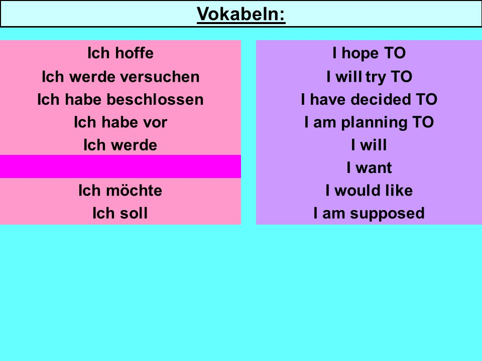 Ich werde versuchen Ich habe beschlossen Ich habe vor Ich werde Ich will Ich möchte Ich soll I will try TO I have decided TO I am planning TO I will I want I would like I am supposed I hope TO Vokabeln: