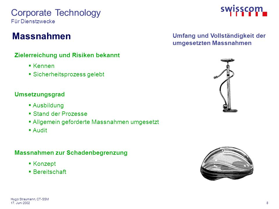 Corporate Technology Für Dienstzwecke 8 Hugo Straumann, CT-SSM 17.