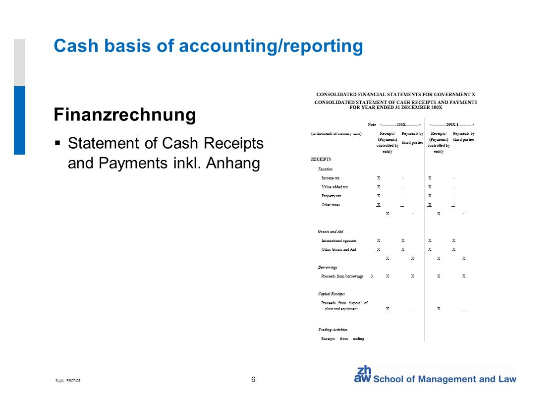 9.ppt, FS07/08 6 Cash basis of accounting/reporting Finanzrechnung Statement of Cash Receipts and Payments inkl.