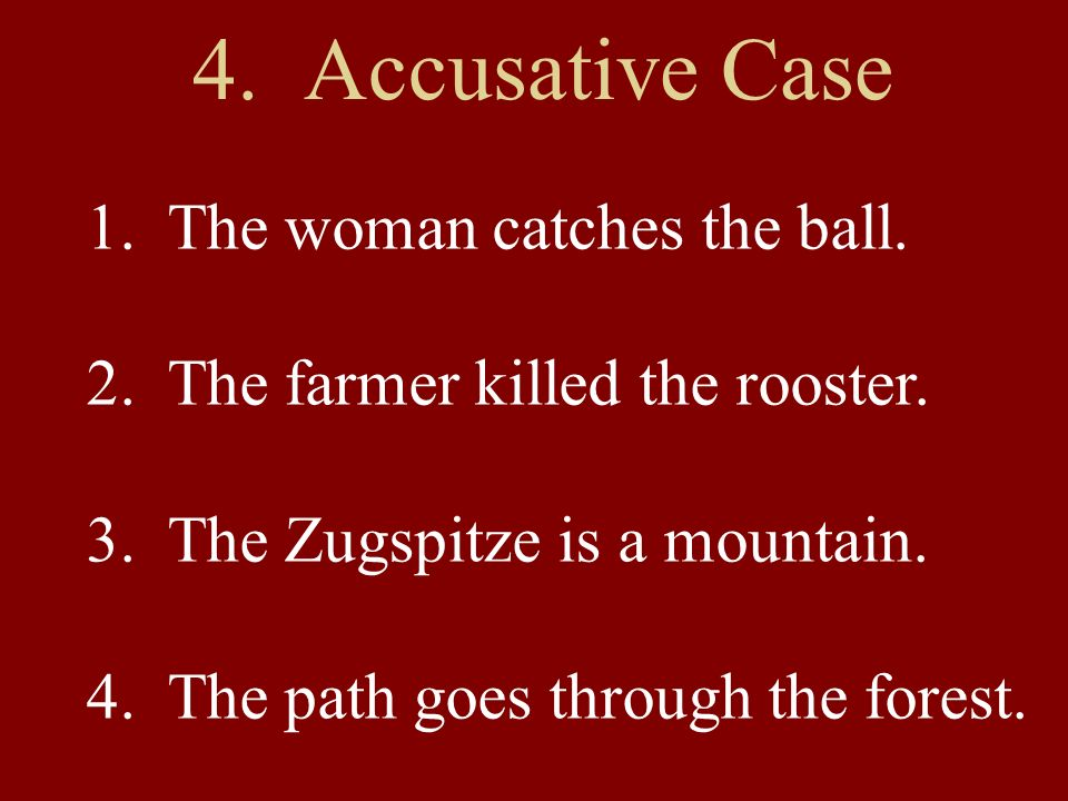 4. Accusative Case 1. The woman catches the ball.